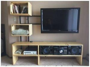 Unique diy tv stand with mount #DIYTVStand #TVStandIdeas #WoodenTVStand