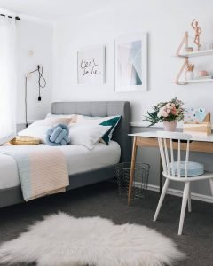 Gorgeous teenage girl bedroom ideas grey #teenagegirlbedroomideas #teengirlsroom #girlsbedroomideas